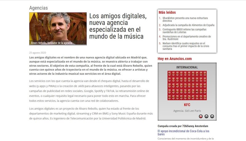 News about the birth of los amigos digitales in Anuncios.com