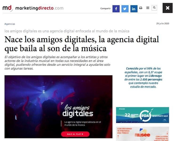 News about the birth of los amigos digitales in MarketingDirecto.com