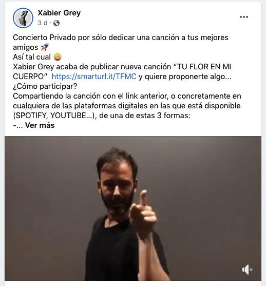 """Post on Facebook by Xabier Grey about the """"Tu flor en mi cuerpo"""" action"""