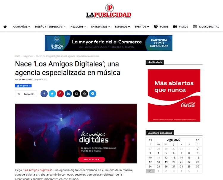 Noticia sobre el nacimiento de los amigos digitales en LaPublicidad.net