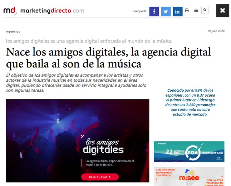 Noticia sobre el nacimiento de los amigos digitales en MarketingDirecto.com